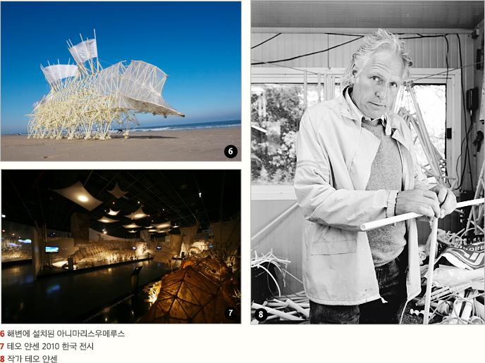 6 해변에 설치된 아니마리스우메루스 7 테오 얀센 2010 한국 전시 8 작가 테오 얀센
