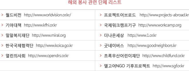 해외 봉사 관련 단체 리스트
