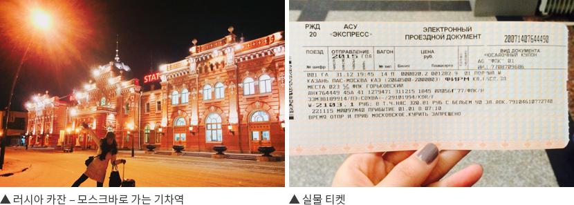 ▲ 러시아 카잔 – 모스크바로 가는 기차역 ▲ 실물 티켓