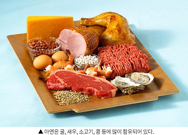 아연은 굴, 새우, 소고기, 콩 등에 많이 함유되어 있다.
